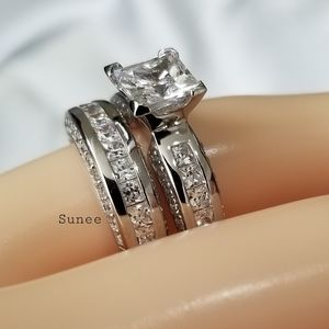 925 Princess Wedding Engagement Bridal Ring Set